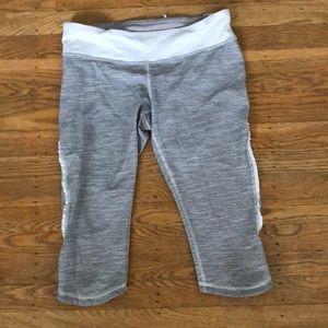 Lululemon grey/ white striped running leggings - 6